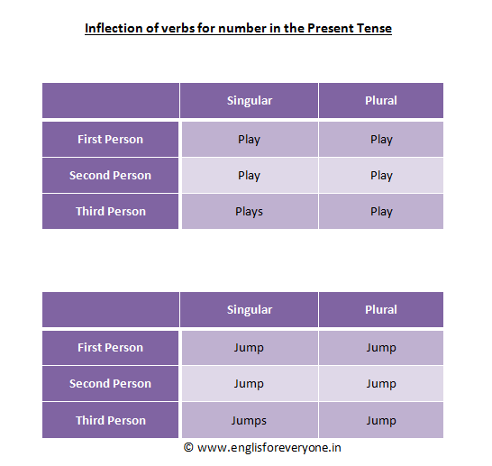 Verbs Inflected for Number for the Present Tense